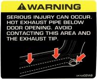 009; 2003 - 2013 Dodge Viper SRT10 Exhaust Warning Label - 04708021AB